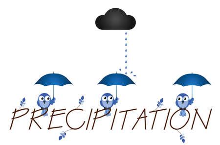 torrential rain: Precipitation twig text isolated on white background Illustration