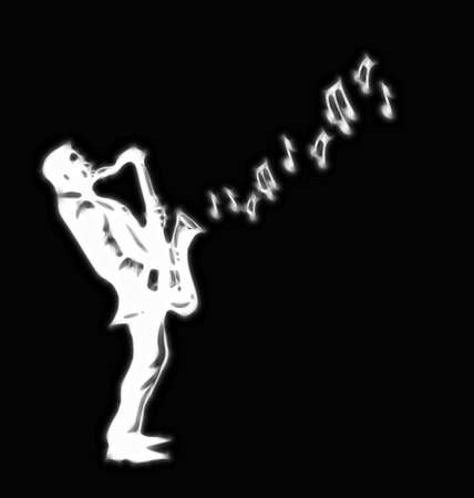 Abstract stylised saxophone player on black background photo