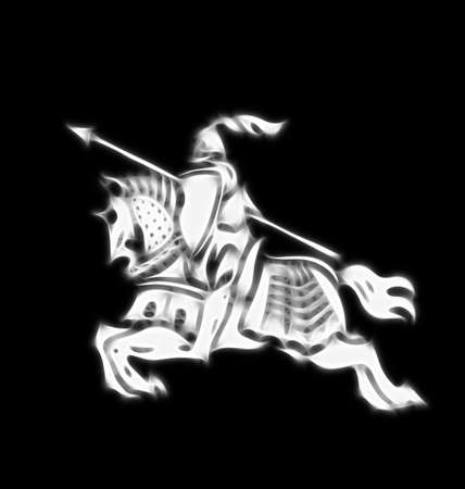 crusader: Abstract image of a stylised knight in armour on black background