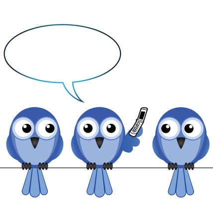 converse: Ein Vogel auf Handy kopieren Sie Platz f�r eigenen Text Illustration