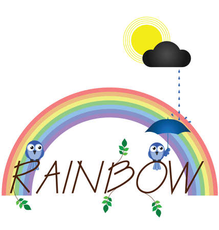 precipitation: Rainbow twig text isolated on white background
