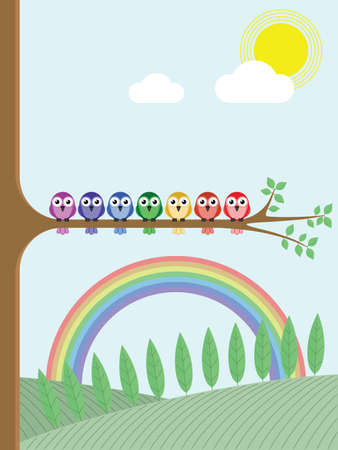 refracted: Rainbow colour birds sat on a tree branch