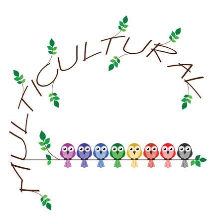diversidad cultural: Multicultural rama texto que representa la diversidad en la sociedad