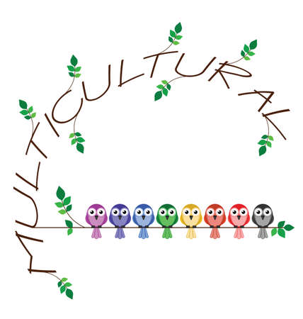 racial: Multicultural twig text representing diversity in society Illustration