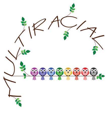 tolerancia: Multirracial rama texto que representa la diversidad en la sociedad Vectores