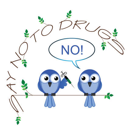 drug addict: No to drugs twig text message isolated on white background Illustration