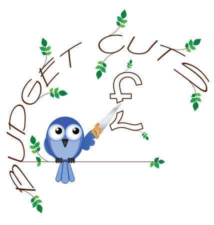 cutback: Budget cuts £ twig text isolated on white background Illustration