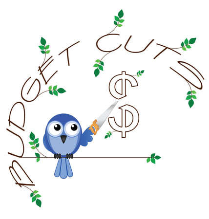 cutback: Budget cuts $ twig text isolated on white background Illustration