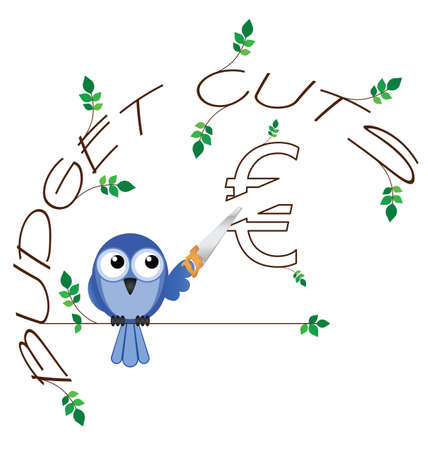 cutback: Budget cuts Euro twig text isolated on white background Illustration
