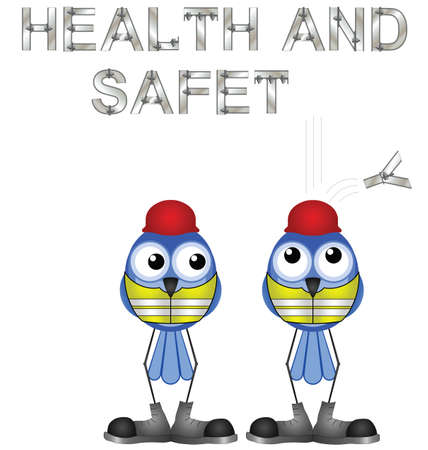 safety shoes: Construction workers and health and safety sign isolated on white background