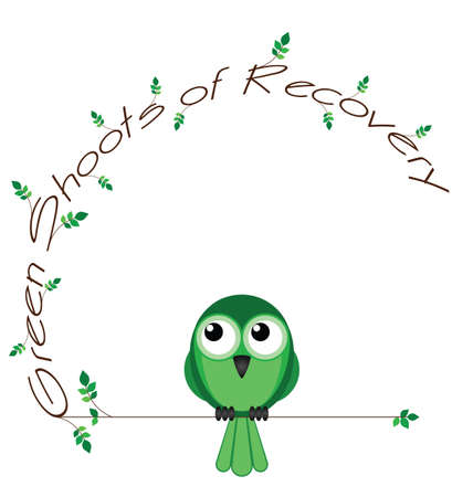upturn: Green shoots of recovery twig text isolated on white background Illustration