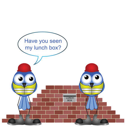 lunch box: Comical construction workers and missing lunch box