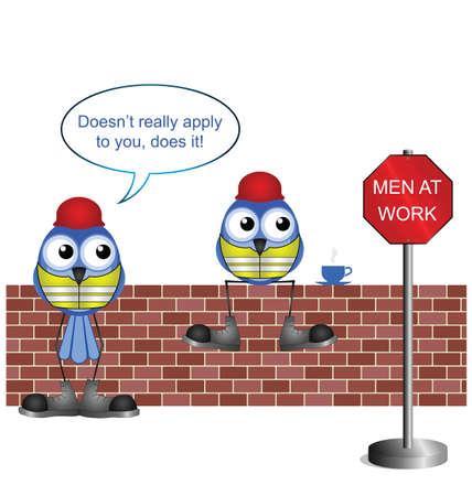seguridad e higiene: Comical trabajadores de la construcci�n con los hombres en el trabajo Conectarse aislado sobre fondo blanco Vectores