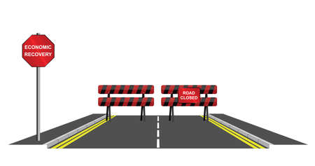 slump: Symbolic road closed to economic recovery isolated on white background Illustration