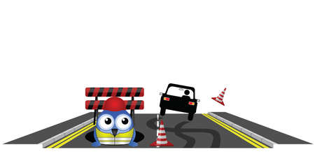 road works: Car skidding to avoid road works isolated on white background