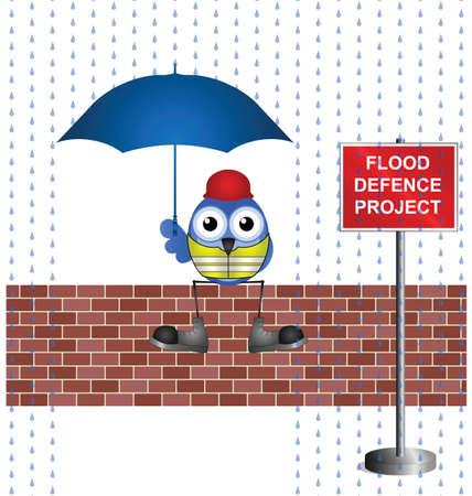 cloudburst: Comical construction worker on flood defence project