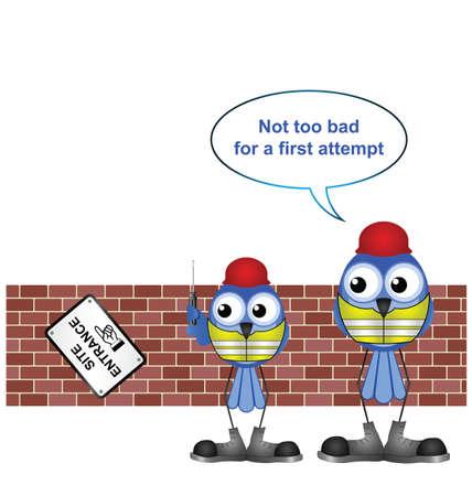 seguridad e higiene: Comical trabajadores de la construcci�n con un signo de aprendiz erigir