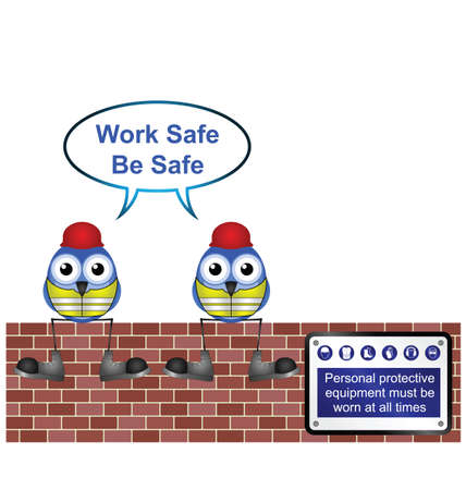 work safe: Comical construction workers with work safe message isolated on white background
