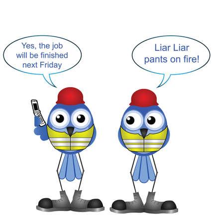 fib: Trabajadores de la construcci�n c�micas mienten a un cliente aislado sobre fondo blanco Vectores