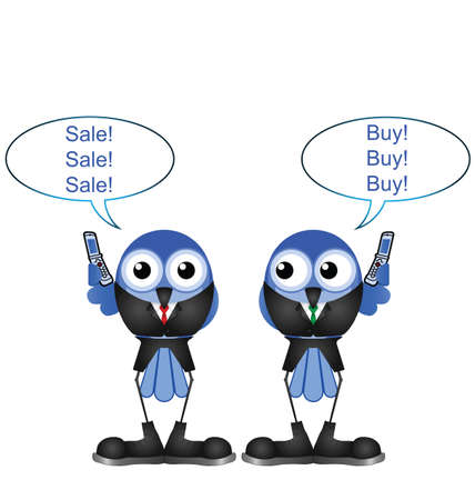 shares: Comical bird stock traders buying and selling shares isolated on white background Illustration