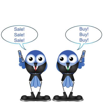 stock traders: Comico uccelli operatori di borsa di acquisto e vendita di azioni isolate su sfondo bianco