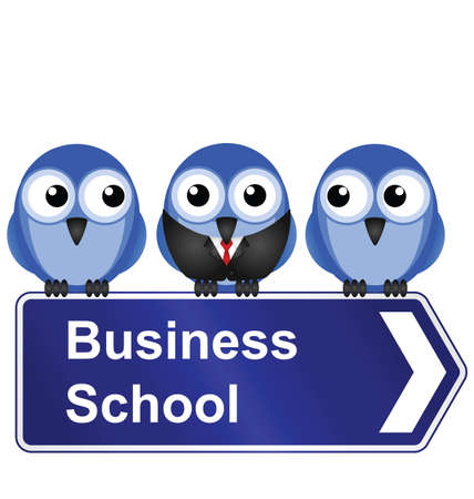 Comical business school sign isolated on white background Stock Vector - 14906334
