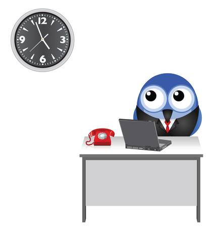 Comical worker clock watching to go home isolated on white background Stock Vector - 14951432