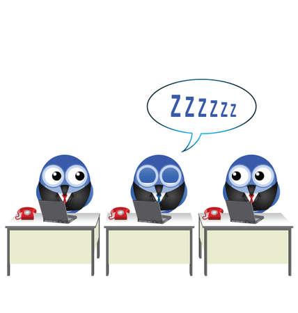 siesta: Impiegato comico addormentato alla sua scrivania isolato su sfondo bianco Vettoriali