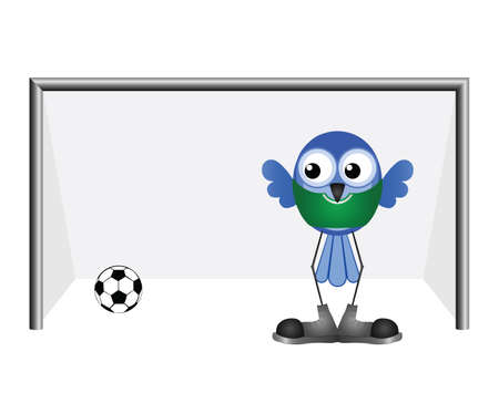 letting: Comical goalkeeper letting in a goal isolated on white background