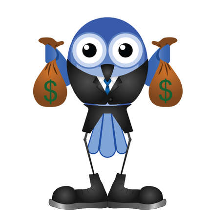 industrialist: Comical bird businessman holding bags of money isolated on white background Illustration