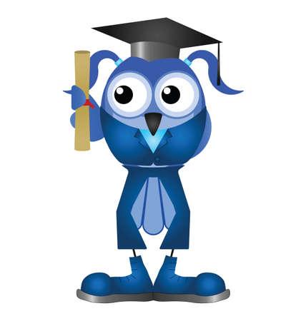 scholars: Mujer estudiante de graduaci�n con diploma aislado sobre fondo blanco Vectores