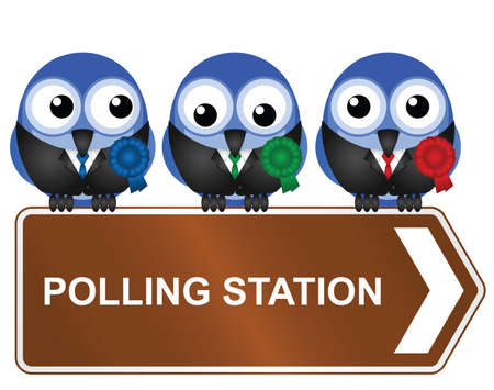 legislator: Comical polling station sign isolated on white background