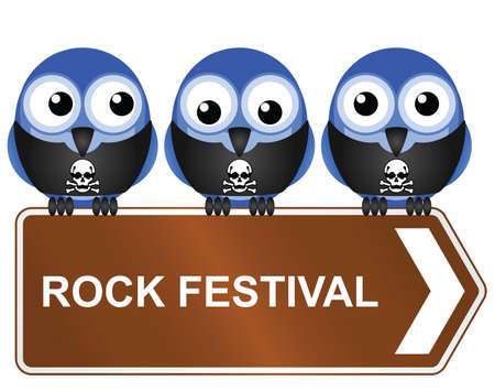 metal music: Comical rock festival sign isolated on white background