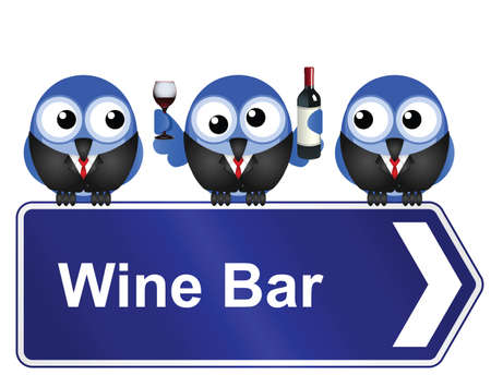 inebriated: Comical wine bar sign isolated on white background Illustration