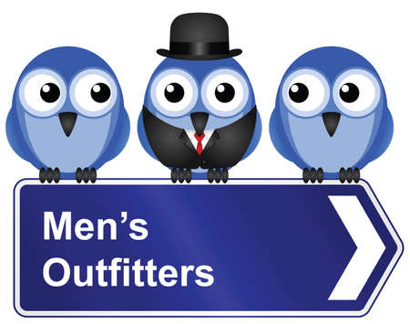 Comical men outfitters sign isolated on white background Stock Vector - 15493755