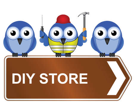 ppe: Comical DIY store sign isolated on white background