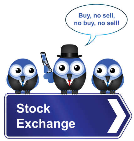 industrialist: Comical stock exchange sign isolated on white background Illustration