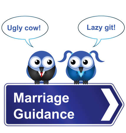 animal abuse: Comical marriage guidance sign isolated on white background