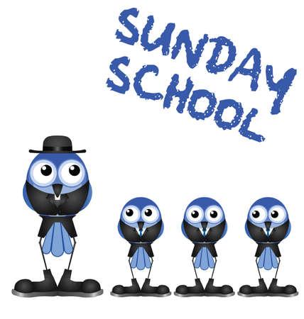 devout: Comical bird Sunday school isolated on white background Illustration