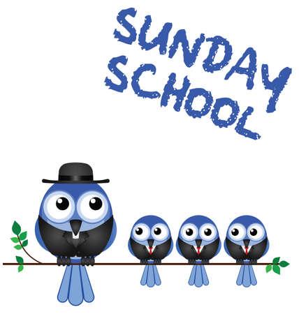 clergy: La reuni�n del domingo escuela aislada en el fondo blanco