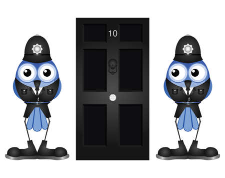 bobby: Comical policemen guarding a black door isolated on white background Illustration