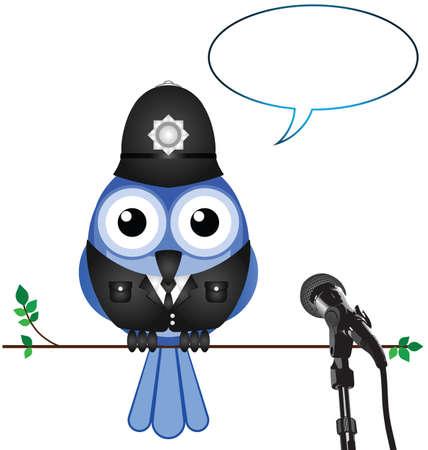 converse: Polizist gibt Interview mit Kopie Raum f�r eigenen Text Illustration