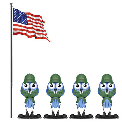 grunt: USA soldiers on parade ground isolated on white background