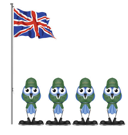 grunt: UK soldiers on parade ground isolated on white background Illustration