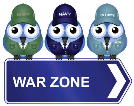 airman: War zone sign isolated on white background