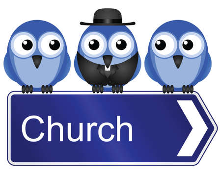cleric: Comical church sign isolated on white background Illustration