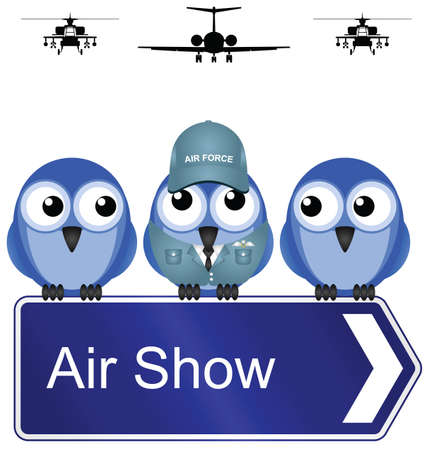 航空ショー: Comical air show sign isolated on white background