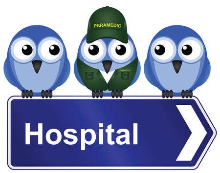 Komisch ziekenhuis teken geïsoleerd op witte achtergrond