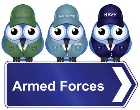 grunt: Armed Forces Sign isolated on white background