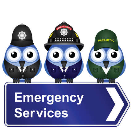 Emergency services sign isolated on white background